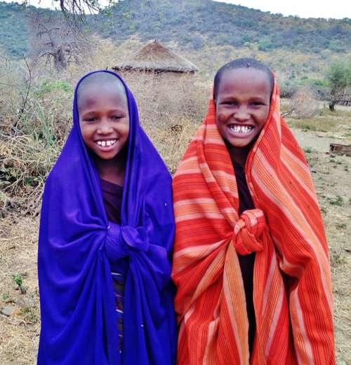 Massai Children People Boys Tanzania Boma Africa