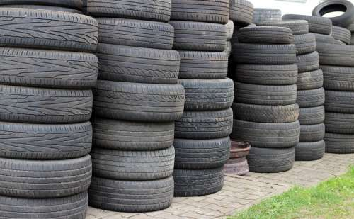 Mature Auto Tires Storage Stock Disposal