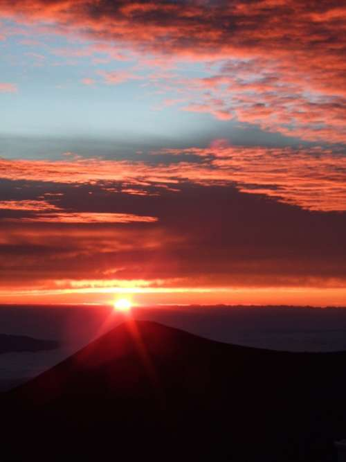 Mauna Kea Summit Top Sunset Island Of Hawaii