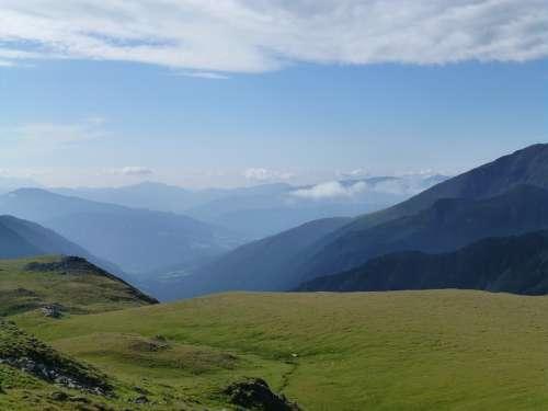 Meadow Alm Alpine Summit Panorama Landscape