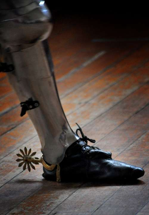 Medieval Knight Shoe Foot Spur Wooden Floor