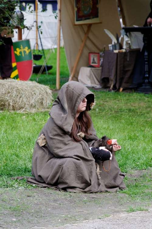 Medieval Market Beggars Sit Middle Ages Person