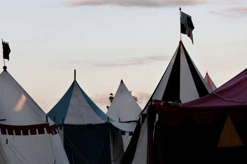 Medieval Market Army Camp Tent Tips Sky Clouds