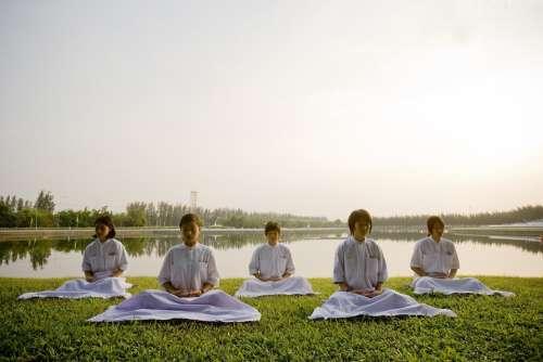 Meditate Children School Buddhists Camp Thailand