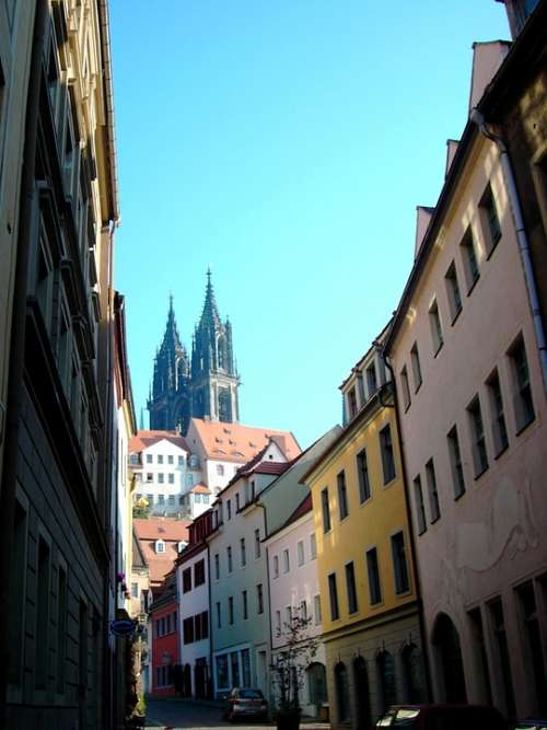 Meissen Dom Towers Alley Row Of Houses Saxony