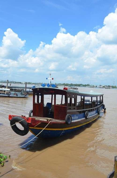 Mekong Boat River Travel Ferry Ship Vietnam