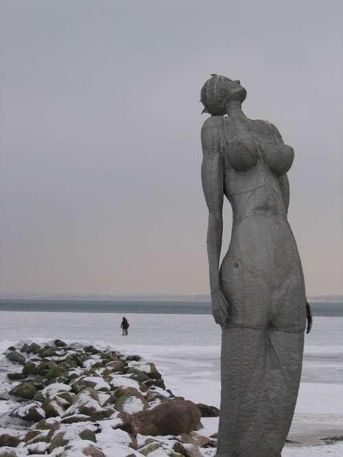 Mermaid Baltic Sea Winter Cold Sea Snow Beach