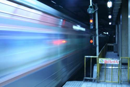 Metro Subway Korea Seoul Fast Speed Blur