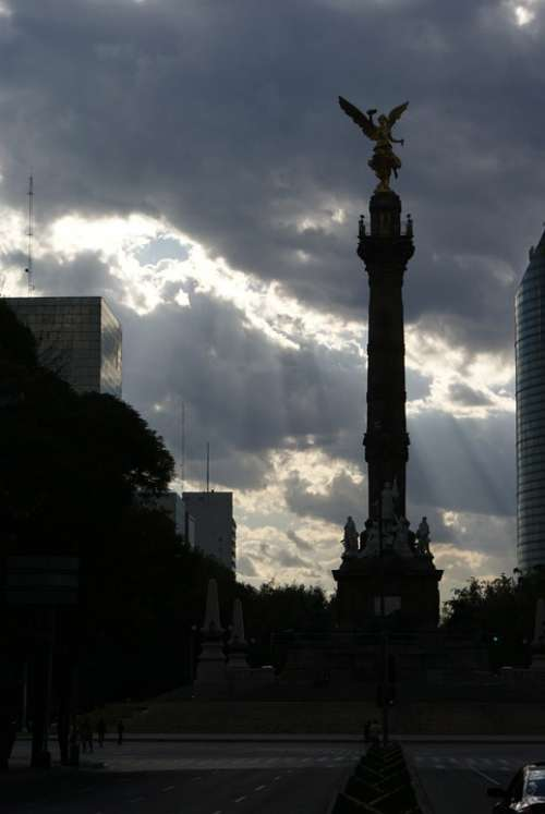 Mexico Angel Reform Clouds Monument