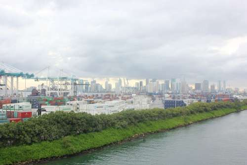 Miami Harbor Port Water Cargo Freighters