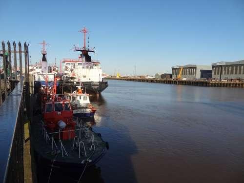 Middlesbrough Harbor Port River Ships Industry