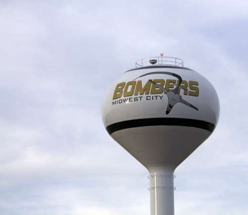 Midwest City Oklahoma Bombers Water Tower Water