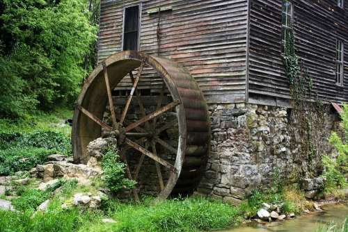 Mill Gatlinburg Tennessee Building Water Wheel