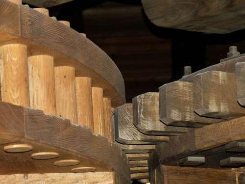 Mill Flour Mill Windmill Wood Gear Gearings Woods