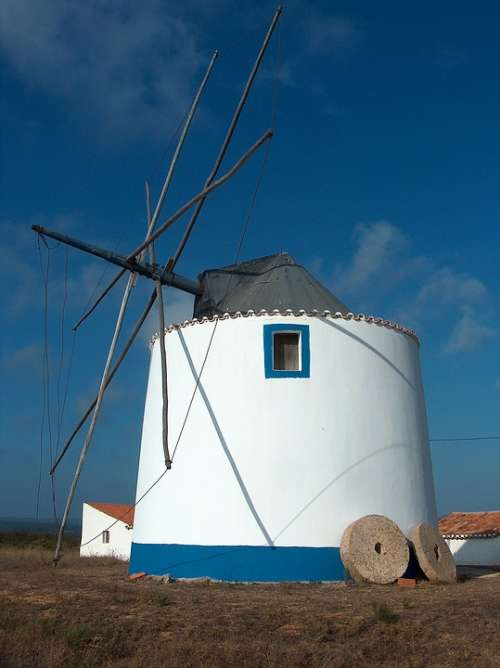 Mill Portugal Holiday Wind Sky Pale