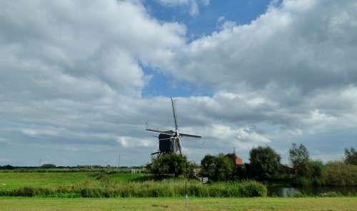 Mill Clouds Air Landscape Netherlands