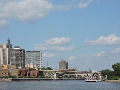 Mississippi Minnesota Skyline Saint Paul River