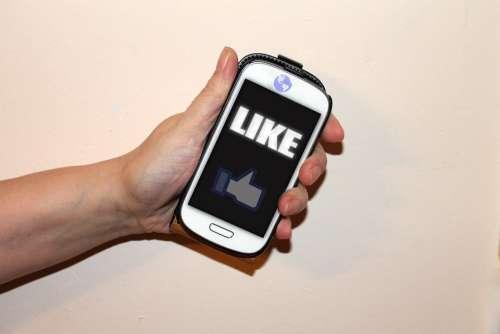 Mobile Phone Socialmedia Facebook Like Thumb