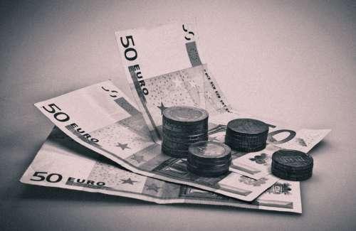 Money Seem Black White 50 Euro Euro Banknote