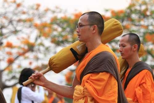 Monks Orange Robes Buddhists Buddhism Walk Thai