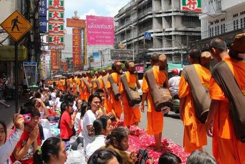 Monks Buddhism Buddhists Monks Walking Ceremony