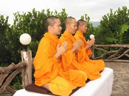 Monks Buddhists Pray Meditate Thailand Asian Asia