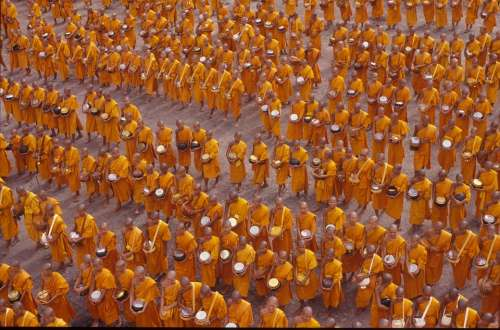 Monks Buddhists Crowd People Wat Asia Thai