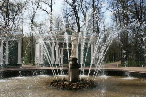 Monplaisir Palace Fountain Water Spouting Spraying