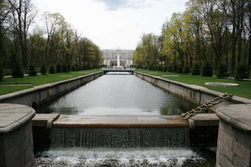 Monplaisir Palace Canal Water Trees Rows