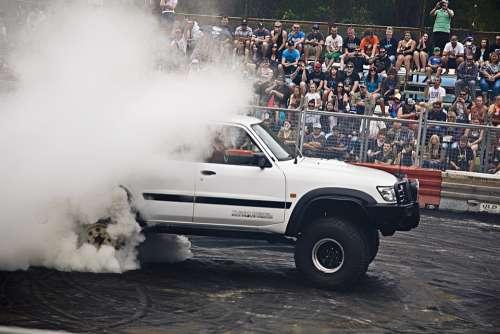 Monster Truck Truck 4X4 Burnout Smoke Car Crowd