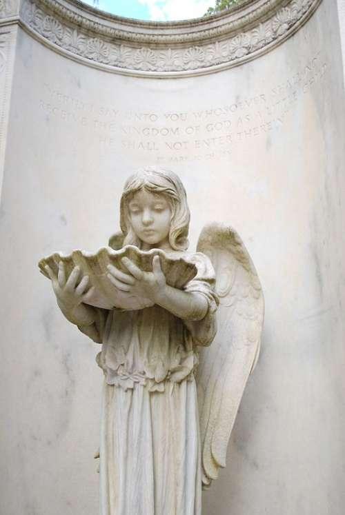 Monument Cemetery Angel Statue Gravestone Savannah