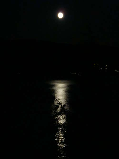 Moon Reflection Ocean Night Calm Dark Midnight