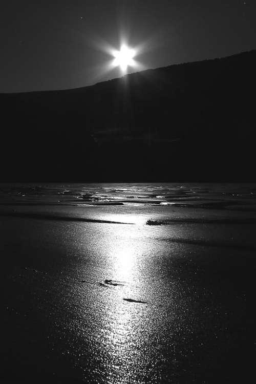 Moon Reflection Beach Black And White Sand Beach