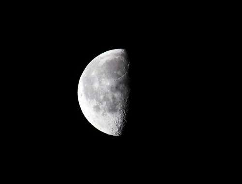 Moon Half Moon Night Sky Astronomy Astrology