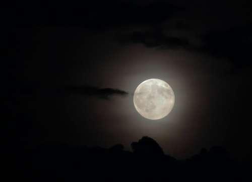Moon Full Moon Cloud At Night Dark Moonlight