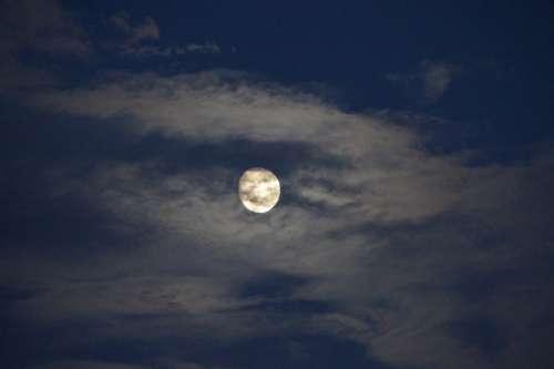 Moon Full Moon Moonlight Night Sky Evening