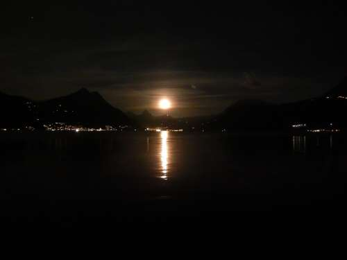 Moon Lake Night Moonlight Mood Landscape