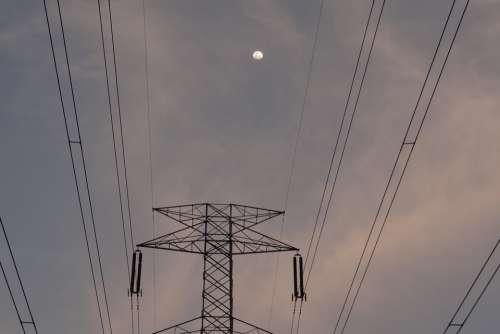 Moonrise Moon Electric Pylon Electric Tower