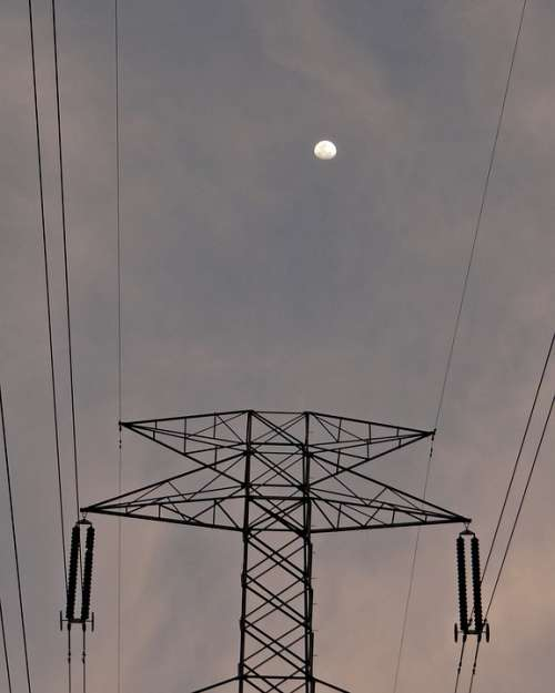 Moonrise Moon Electric Pylon Electric Tower
