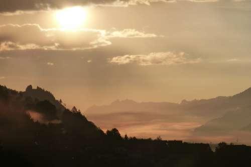Morgenstimmung Clouds Backlighting Fog Autumn Haze