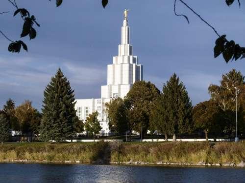 Mormon Temple Building Idaho Falls City Idaho Usa