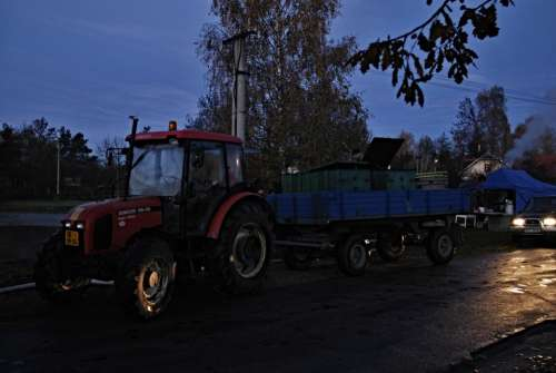 Morning Dawn Harvesting Tractor Car Vats