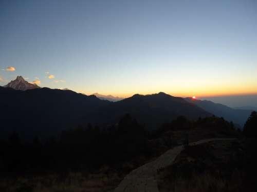 Morning Sunrise Hiking Adventure Snow Blue Season