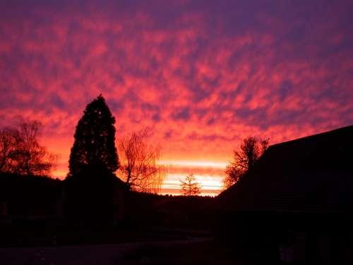Morning Morgenrot Sun Sky Dawn Red