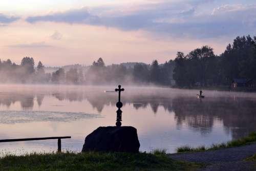 Morning Bayersoien Bavaria Lake Foggy Fog Mood