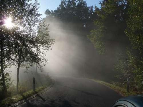 Morning Mist Landscape Fog Haze Road