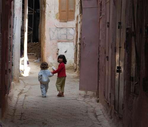 Morocco Children Play Girl Girls Africa City