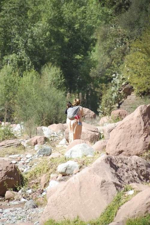 Morocco Mother Child River Africa Landscape