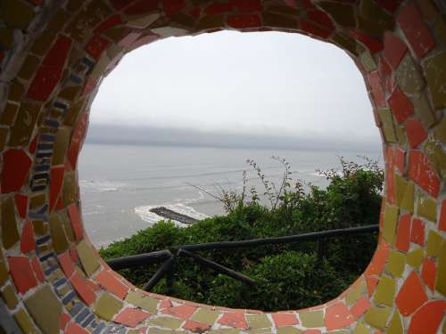 Mosaic Round Hole Sea Water View Window