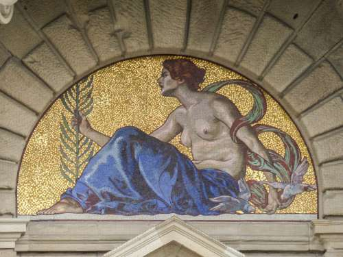 Mosaic Artwork Building House Government Munich